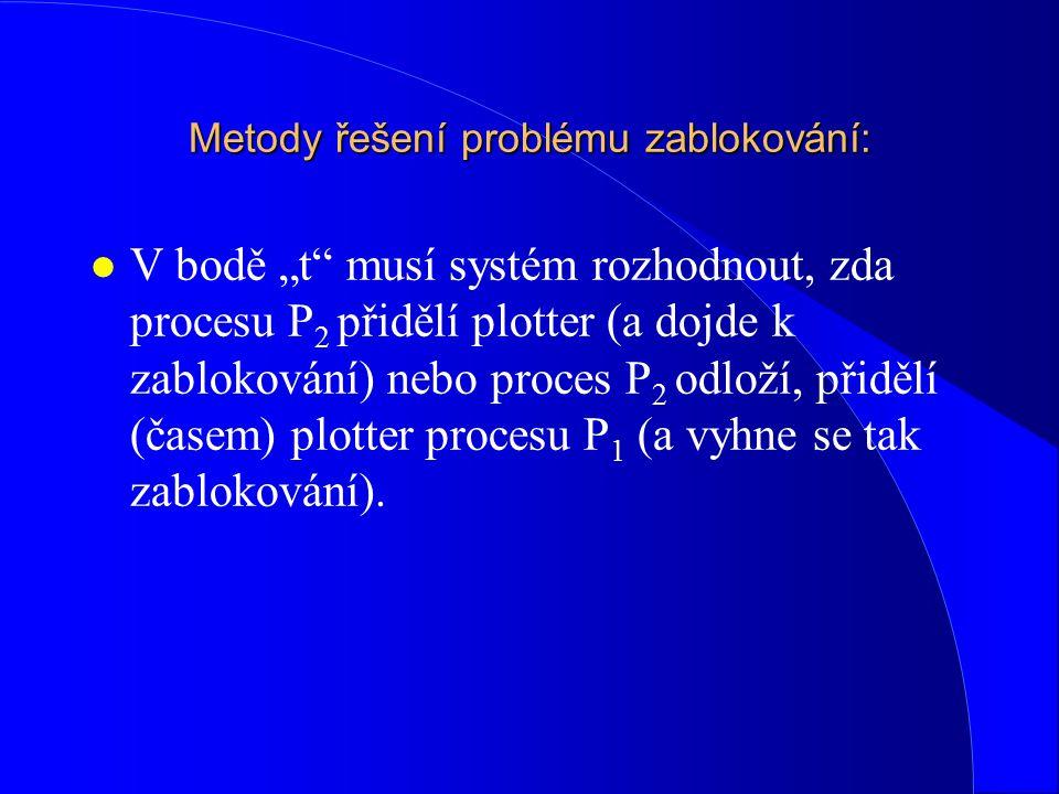 """Metody řešení problému zablokování: l V bodě """"t"""" musí systém rozhodnout, zda procesu P 2 přidělí plotter (a dojde k zablokování) nebo proces P 2 odlož"""