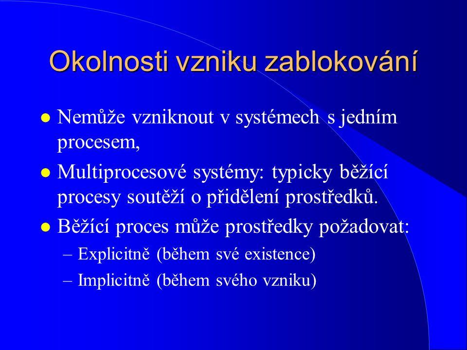 Okolnosti vzniku zablokování l Prostředky dvou typů: –Odejmutelné (preemptable) – mohou být procesu odebrány aniž dojde k nevratnému narušení dalšího korektního chodu procesu (procesor, paměť), –Neodejmutelné (nonpreemptable) – nelze procesu odejmout, aniž by nedošlo ke vzniku chyby v chodu procesu nebo výsledku činnosti (tiskárna)