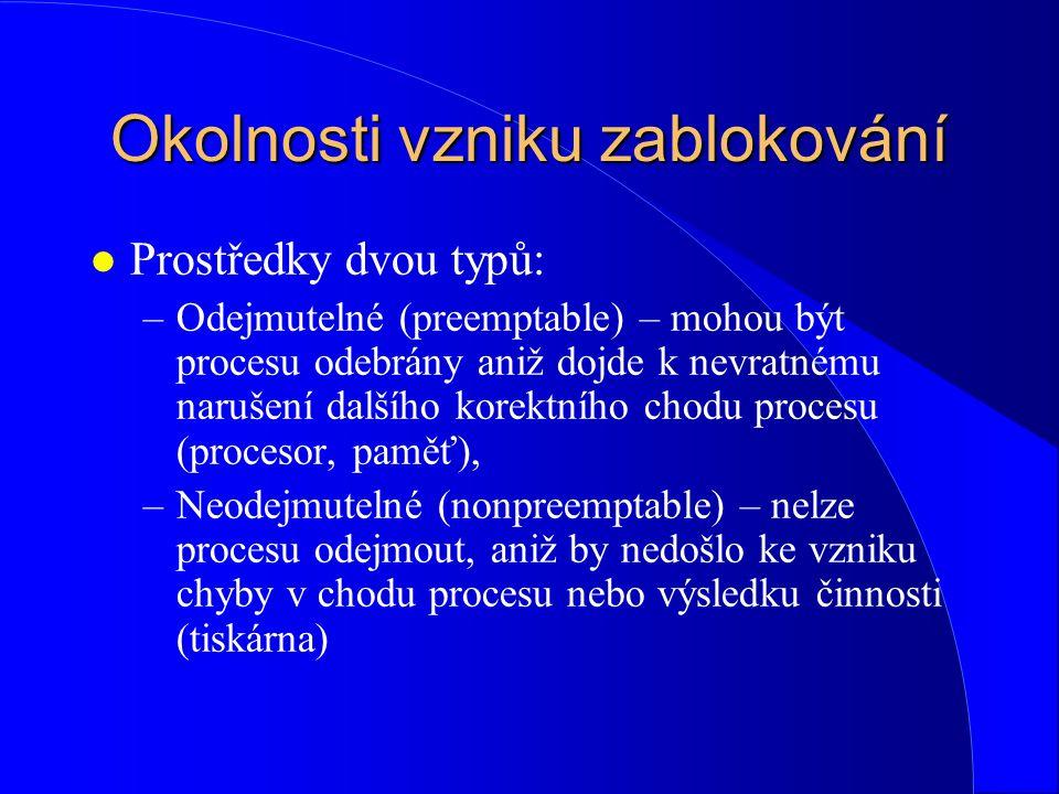 """Metody řešení problému zablokování: l V bodě """"t musí systém rozhodnout, zda procesu P 2 přidělí plotter (a dojde k zablokování) nebo proces P 2 odloží, přidělí (časem) plotter procesu P 1 (a vyhne se tak zablokování)."""