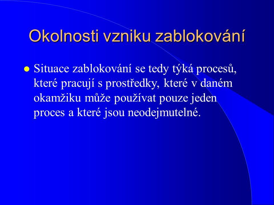 Metody řešení problému zablokování: l C) podmínka neodnímatelnosti přidělených prostředků (no preemption condition) –2.