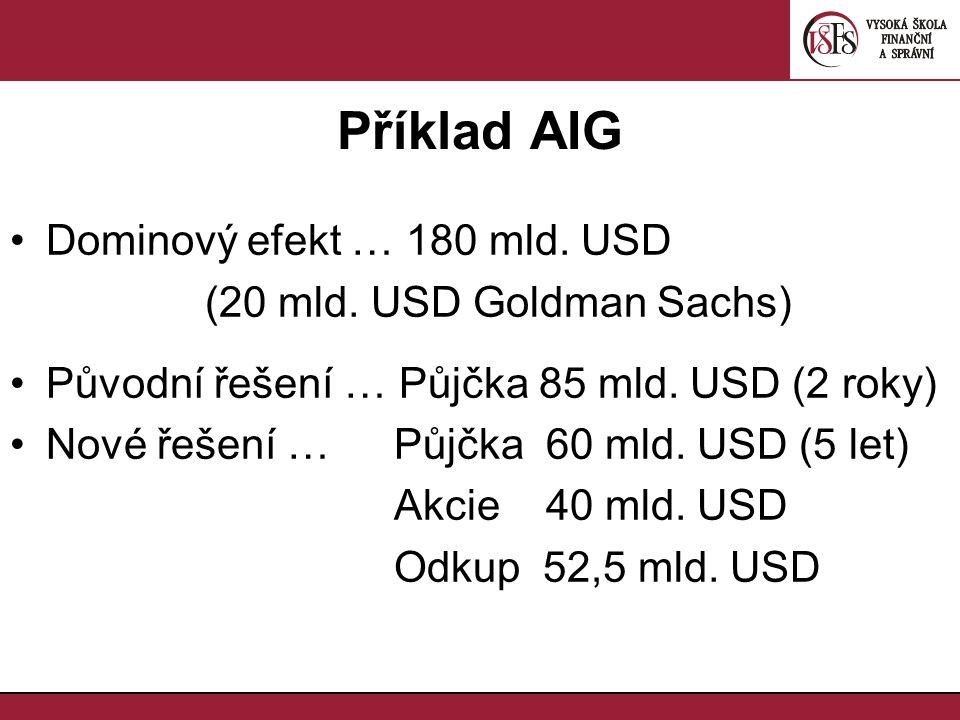Příklad AIG Dominový efekt … 180 mld. USD (20 mld. USD Goldman Sachs) Původní řešení … Půjčka 85 mld. USD (2 roky) Nové řešení … Půjčka 60 mld. USD (5