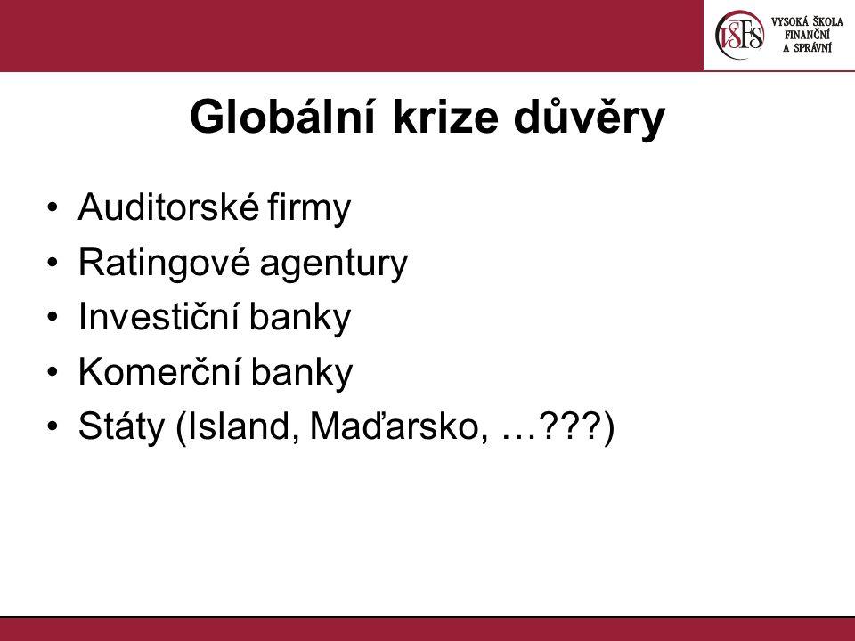 Globální krize důvěry Auditorské firmy Ratingové agentury Investiční banky Komerční banky Státy (Island, Maďarsko, … )