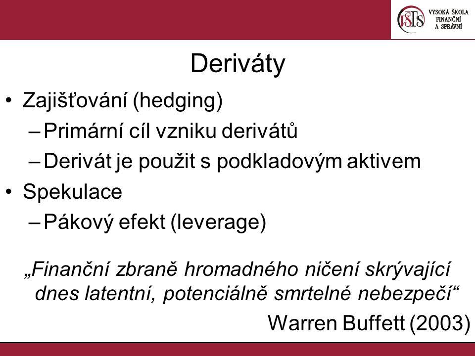 """Deriváty Zajišťování (hedging) –Primární cíl vzniku derivátů –Derivát je použit s podkladovým aktivem Spekulace –Pákový efekt (leverage) """"Finanční zbraně hromadného ničení skrývající dnes latentní, potenciálně smrtelné nebezpečí Warren Buffett (2003)"""
