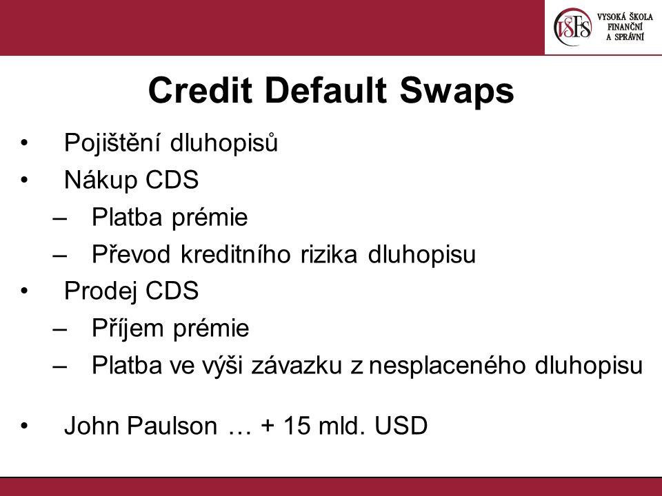 Credit Default Swaps Pojištění dluhopisů Nákup CDS –Platba prémie –Převod kreditního rizika dluhopisu Prodej CDS –Příjem prémie –Platba ve výši závazku z nesplaceného dluhopisu John Paulson … + 15 mld.