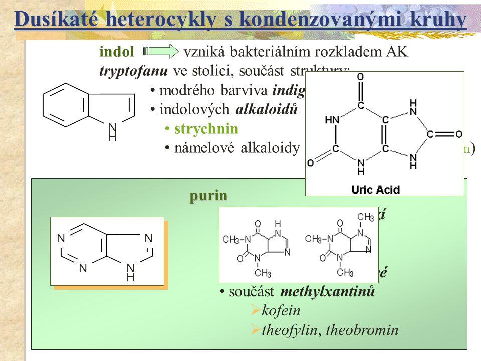 purin součást purinových bazí  adenin  guanin součást kyseliny močové součást methylxantinů  kofein  theofylin, theobromin indol vzniká bakteriáln