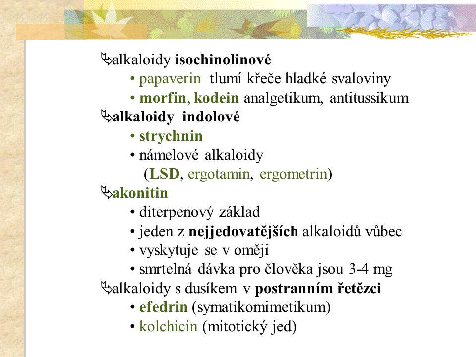  alkaloidy isochinolinové papaverin tlumí křeče hladké svaloviny morfin, kodein analgetikum, antitussikum  alkaloidy indolové strychnin námelové alk