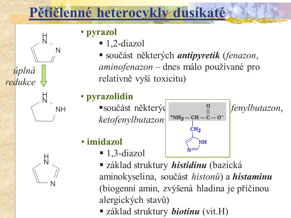 Pětičlenné heterocykly dusíkaté pyrazol  1,2-diazol  součást některých antipyretik (fenazon, aminofenazon – dnes málo používané pro relativně vyší t