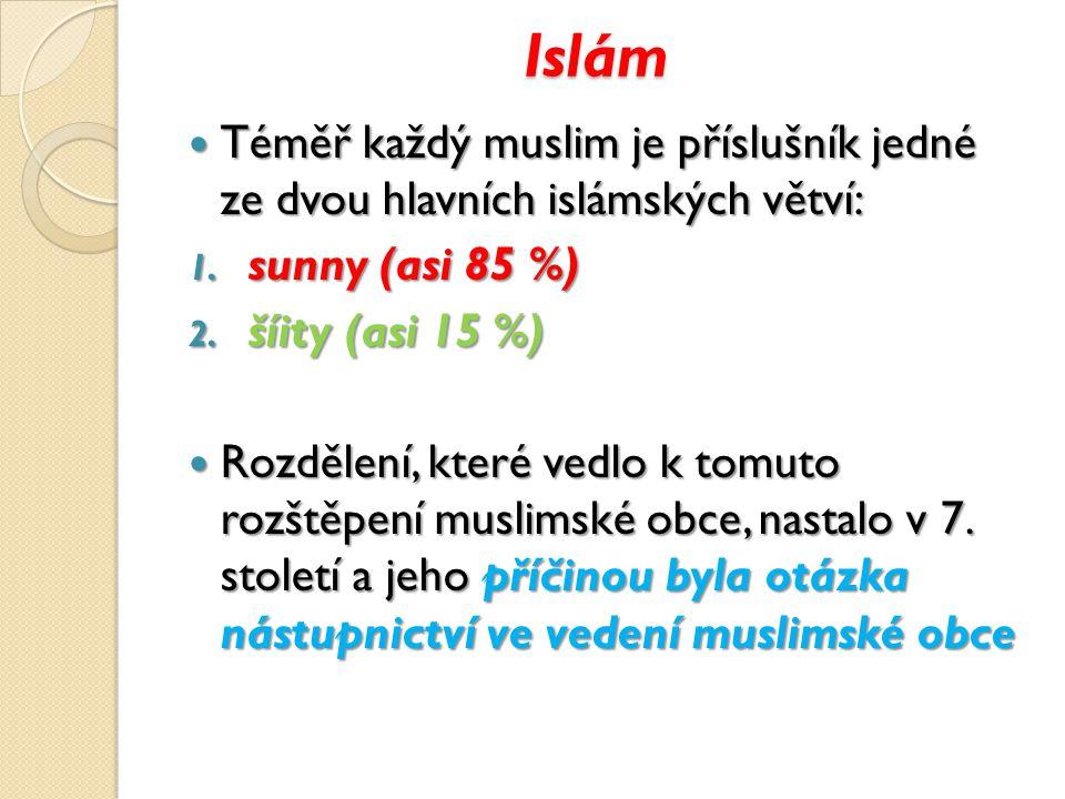 Islám Téměř každý muslim je příslušník jedné ze dvou hlavních islámských větví: Téměř každý muslim je příslušník jedné ze dvou hlavních islámských větví: 1.
