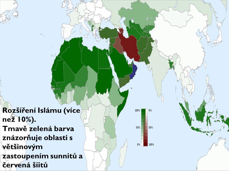 Rozšíření Islámu (více než 10%). Tmavě zelená barva znázorňuje oblasti s většinovým zastoupením sunnitů a červená šíitů