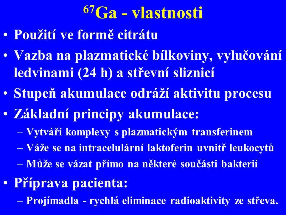 67 Ga - vlastnosti Použití ve formě citrátu Vazba na plazmatické bílkoviny, vylučování ledvinami (24 h) a střevní sliznicí Stupeň akumulace odráží akt