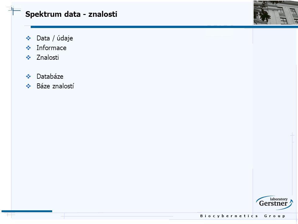 B i o c y b e r n e t i c s G r o u p Spektrum data - znalosti  Data / údaje  Informace  Znalosti  Databáze  Báze znalostí