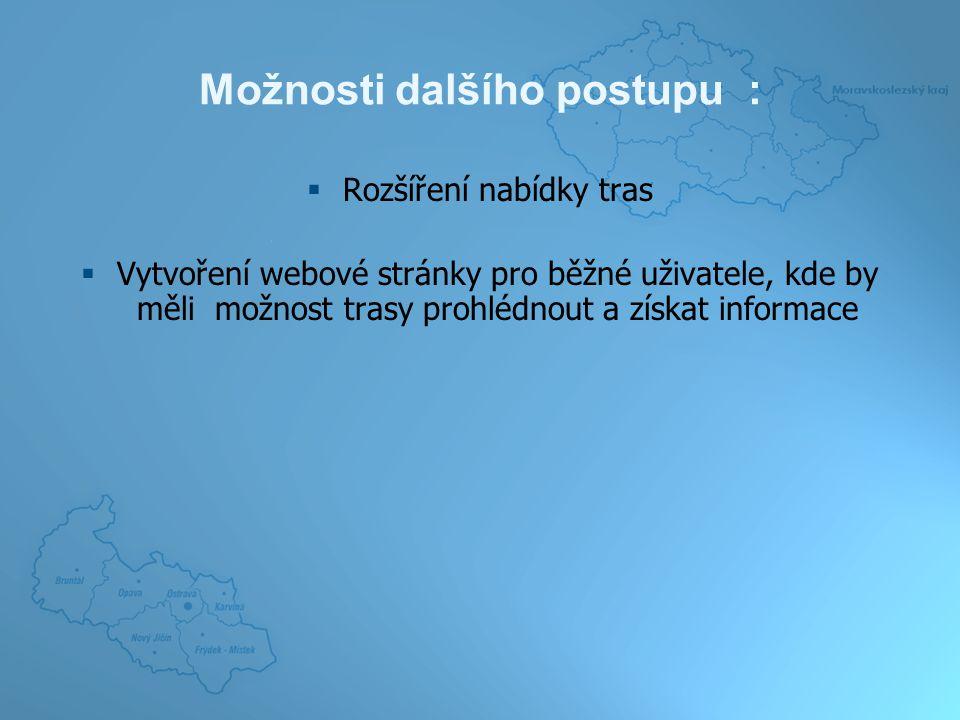 Možnosti dalšího postupu :  Rozšíření nabídky tras  Vytvoření webové stránky pro běžné uživatele, kde by měli možnost trasy prohlédnout a získat informace