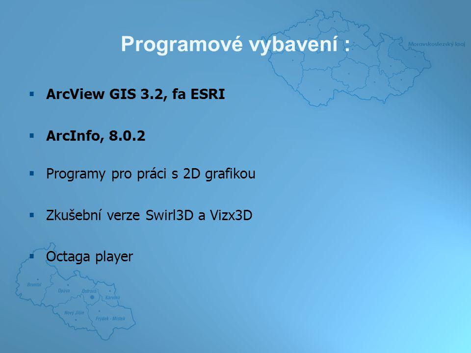 Programové vybavení :  ArcView GIS 3.2, fa ESRI  ArcInfo, 8.0.2  Programy pro práci s 2D grafikou  Zkušební verze Swirl3D a Vizx3D  Octaga player