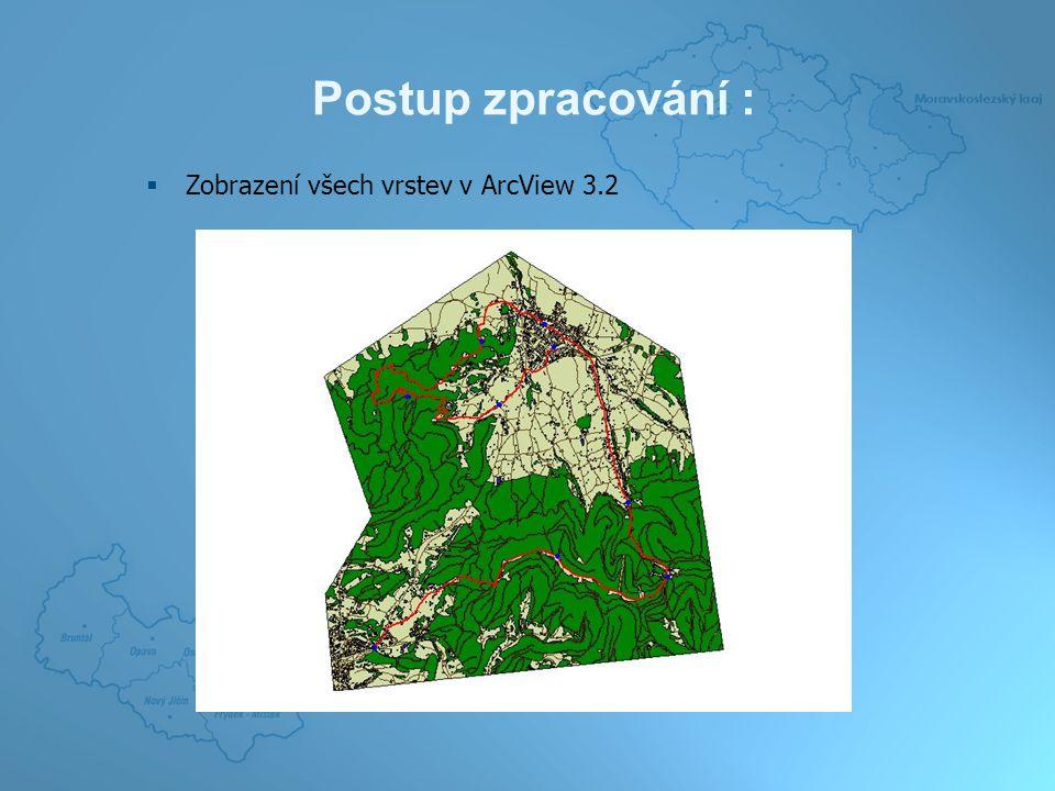 Postup zpracování :  Část výřezu modelu ve 2D a 3D zobrazení v programu ArcView 3.2