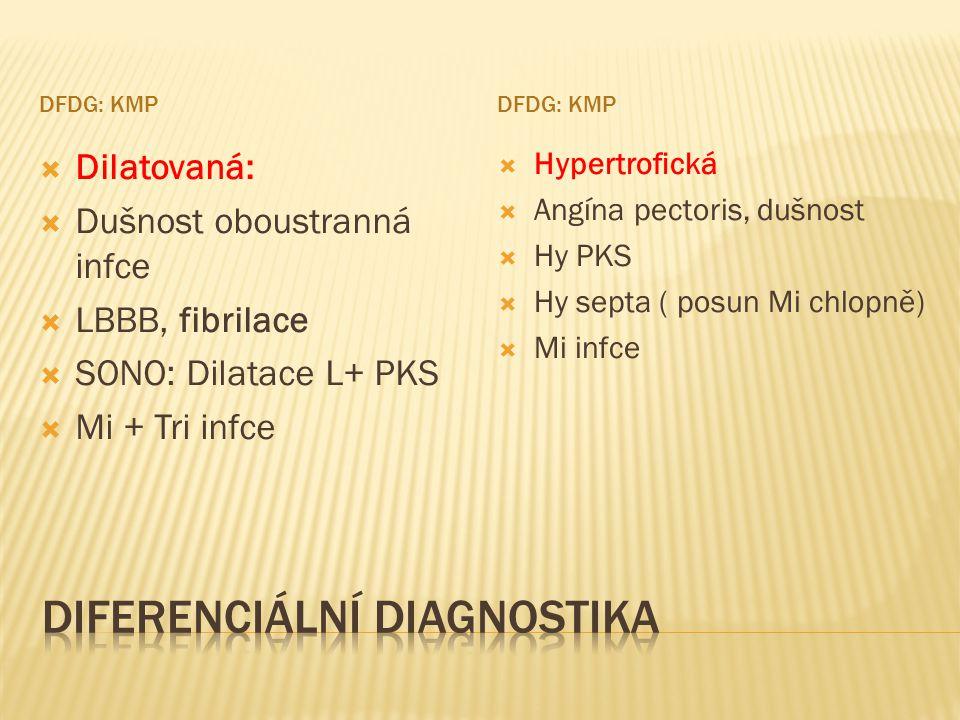DFDG: KMP  Dilatovaná:  Dušnost oboustranná infce  LBBB, fibrilace  SONO: Dilatace L+ PKS  Mi + Tri infce  Hypertrofická  Angína pectoris, dušn