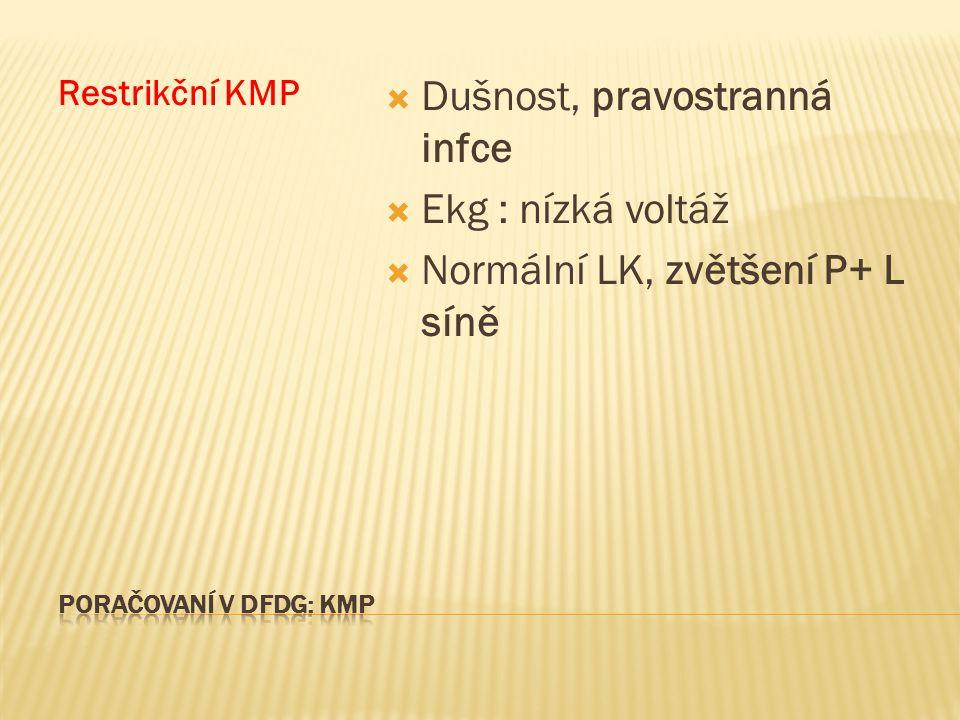 Restrikční KMP  Dušnost, pravostranná infce  Ekg : nízká voltáž  Normální LK, zvětšení P+ L síně