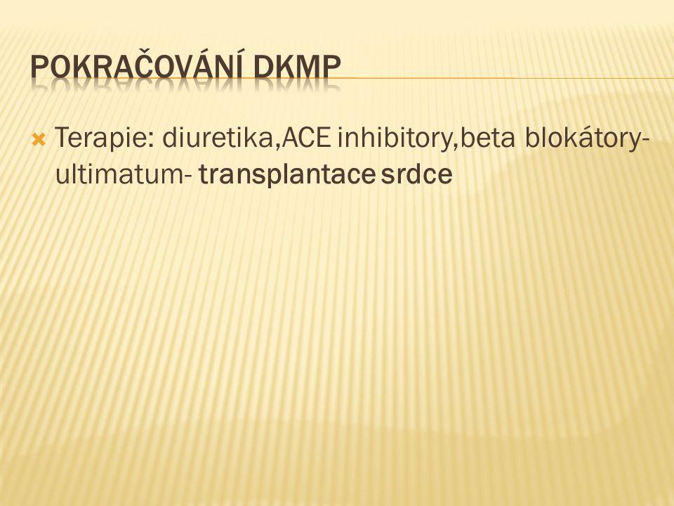  Terapie: diuretika,ACE inhibitory,beta blokátory- ultimatum- transplantace srdce
