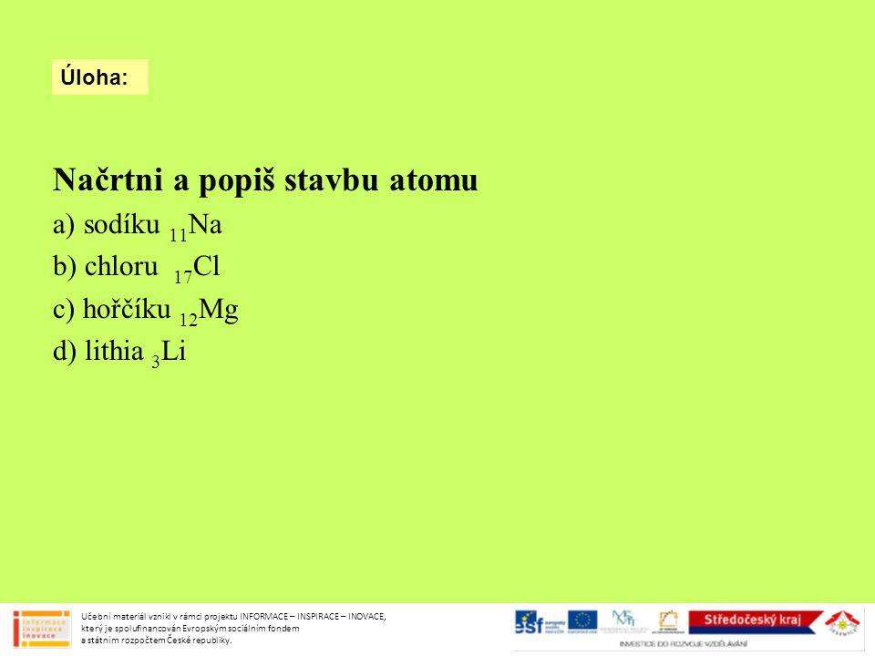 Načrtni a popiš stavbu atomu a) sodíku 11 Na b) chloru 17 Cl c) hořčíku 12 Mg d) lithia 3 Li Úloha: Učební materiál vznikl v rámci projektu INFORMACE