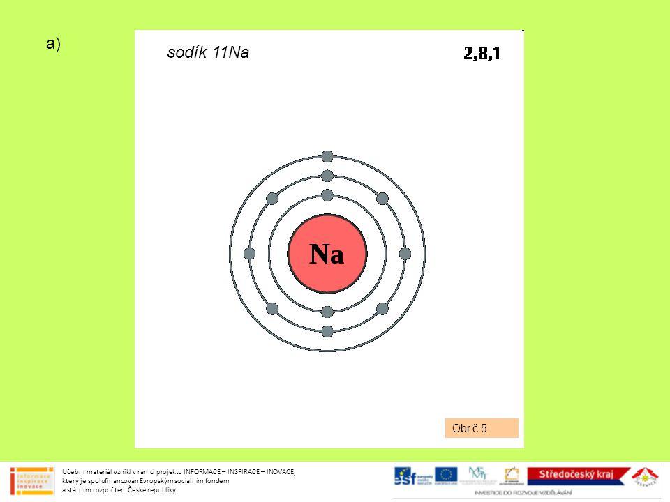 Obr.č.5 sodík 11Na a) Učební materiál vznikl v rámci projektu INFORMACE – INSPIRACE – INOVACE, který je spolufinancován Evropským sociálním fondem a s