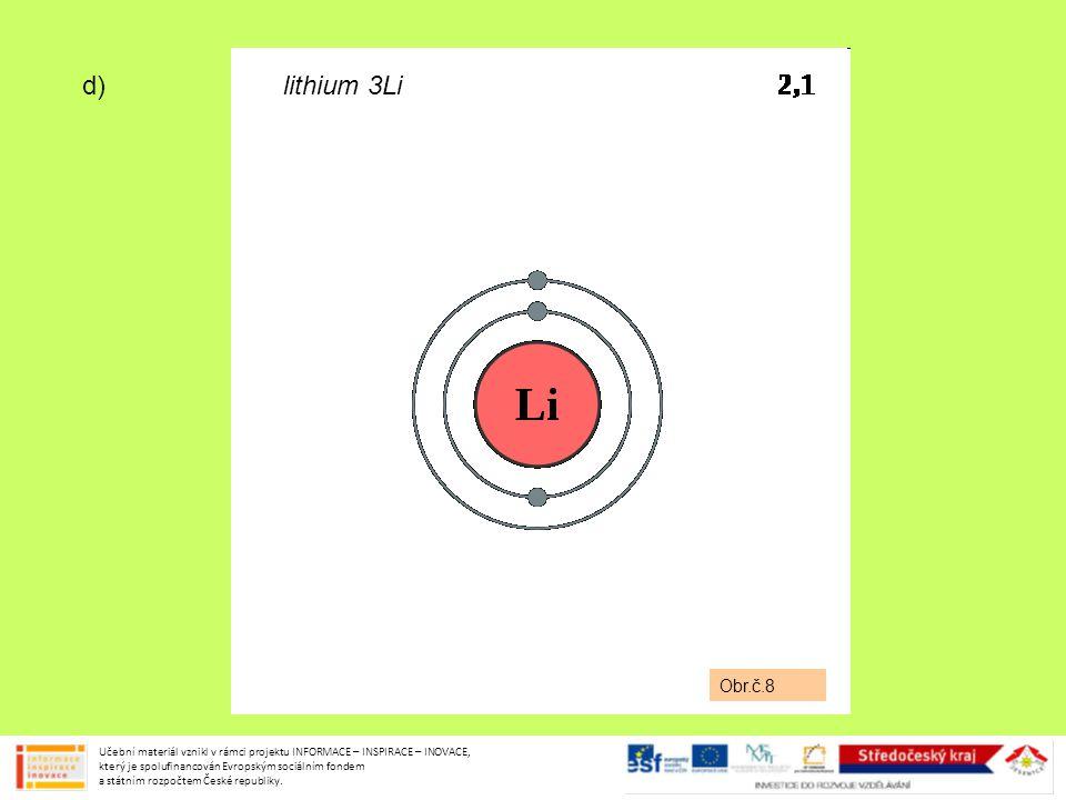 d) lithium 3Li Obr.č.8 Učební materiál vznikl v rámci projektu INFORMACE – INSPIRACE – INOVACE, který je spolufinancován Evropským sociálním fondem a