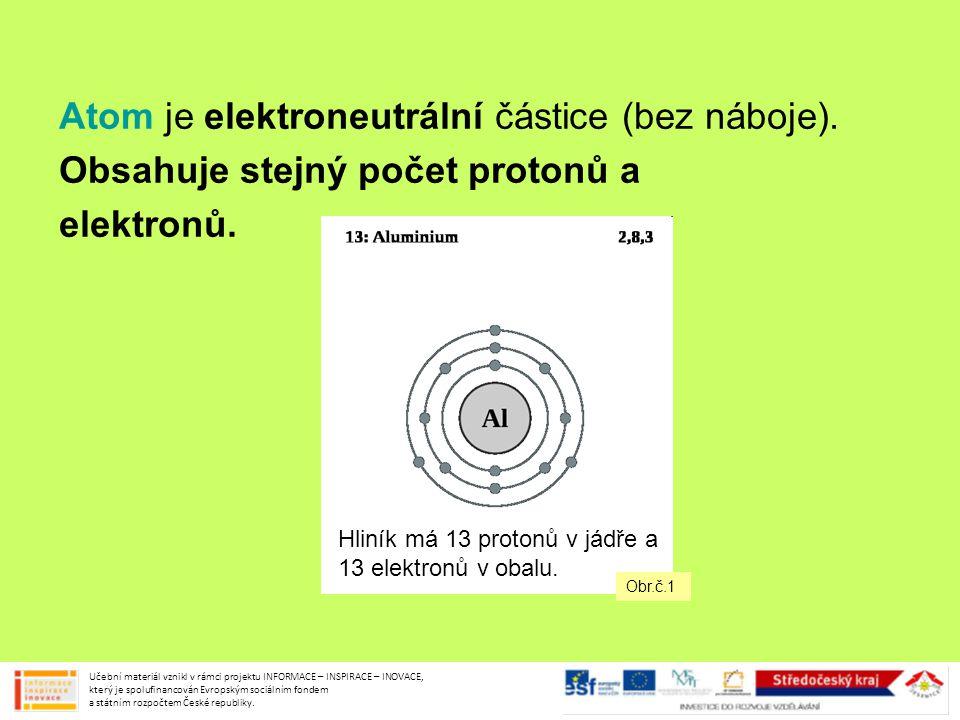 Atom je elektroneutrální částice (bez náboje). Obsahuje stejný počet protonů a elektronů. Učební materiál vznikl v rámci projektu INFORMACE – INSPIRAC