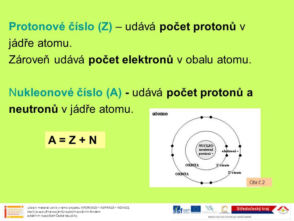 Protonové číslo (Z) – udává počet protonů v jádře atomu. Zároveň udává počet elektronů v obalu atomu. Nukleonové číslo (A) - udává počet protonů a neu