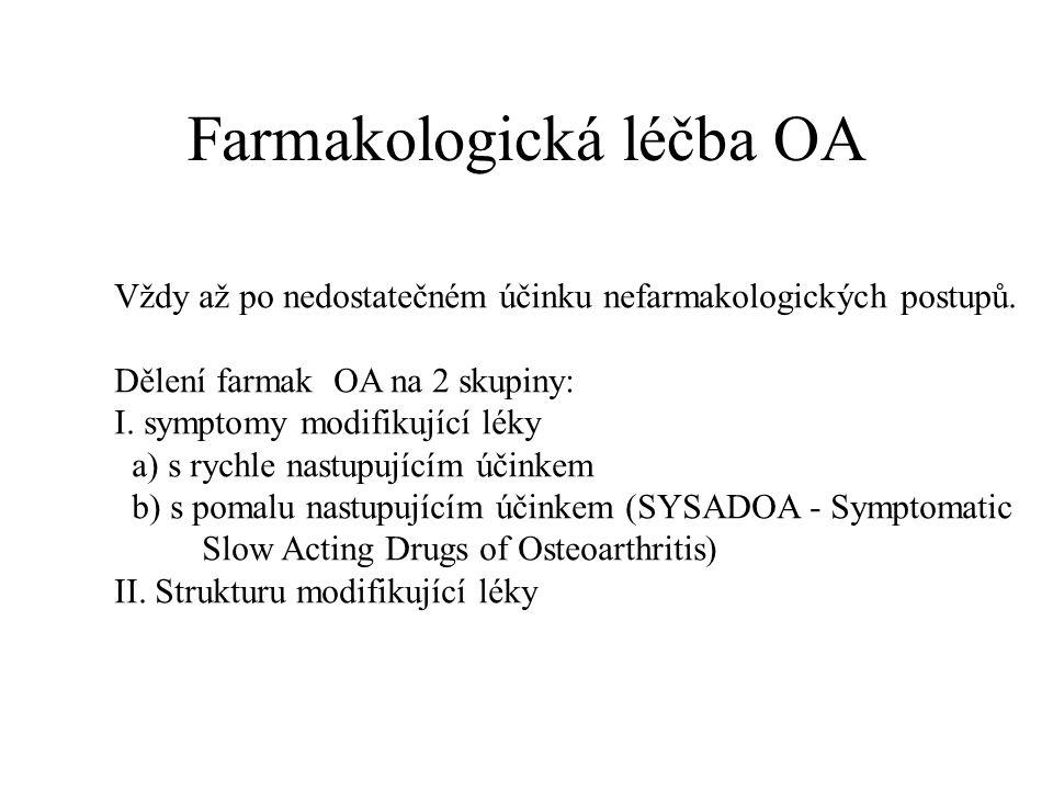 Farmakologická léčba OA Vždy až po nedostatečném účinku nefarmakologických postupů. Dělení farmak OA na 2 skupiny: I. symptomy modifikující léky a) s