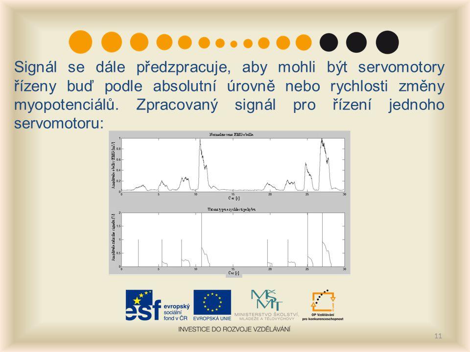 11 Signál se dále předzpracuje, aby mohli být servomotory řízeny buď podle absolutní úrovně nebo rychlosti změny myopotenciálů.