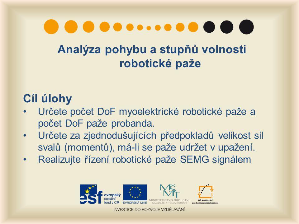 Analýza pohybu a stupňů volnosti robotické paže Cíl úlohy Určete počet DoF myoelektrické robotické paže a počet DoF paže probanda.