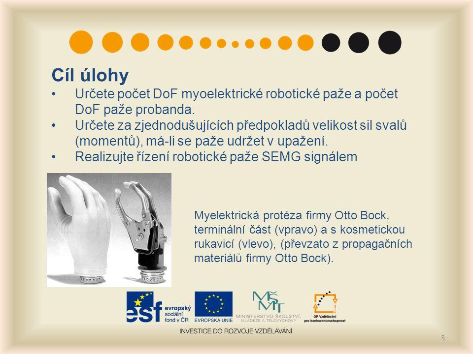3 Cíl úlohy Určete počet DoF myoelektrické robotické paže a počet DoF paže probanda.