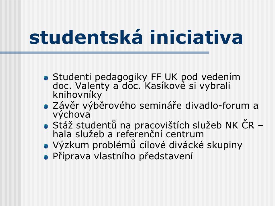 studentská iniciativa Studenti pedagogiky FF UK pod vedením doc. Valenty a doc. Kasíkové si vybrali knihovníky Závěr výběrového semináře divadlo-forum