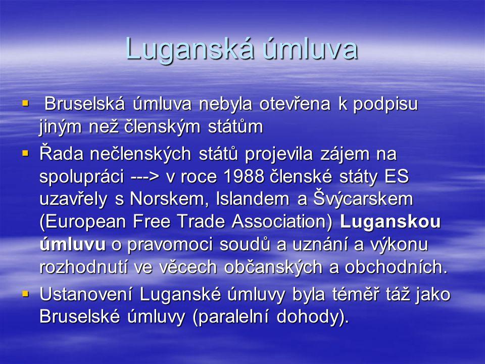 Luganská úmluva  Bruselská úmluva nebyla otevřena k podpisu jiným než členským státům  Řada nečlenských států projevila zájem na spolupráci ---> v r