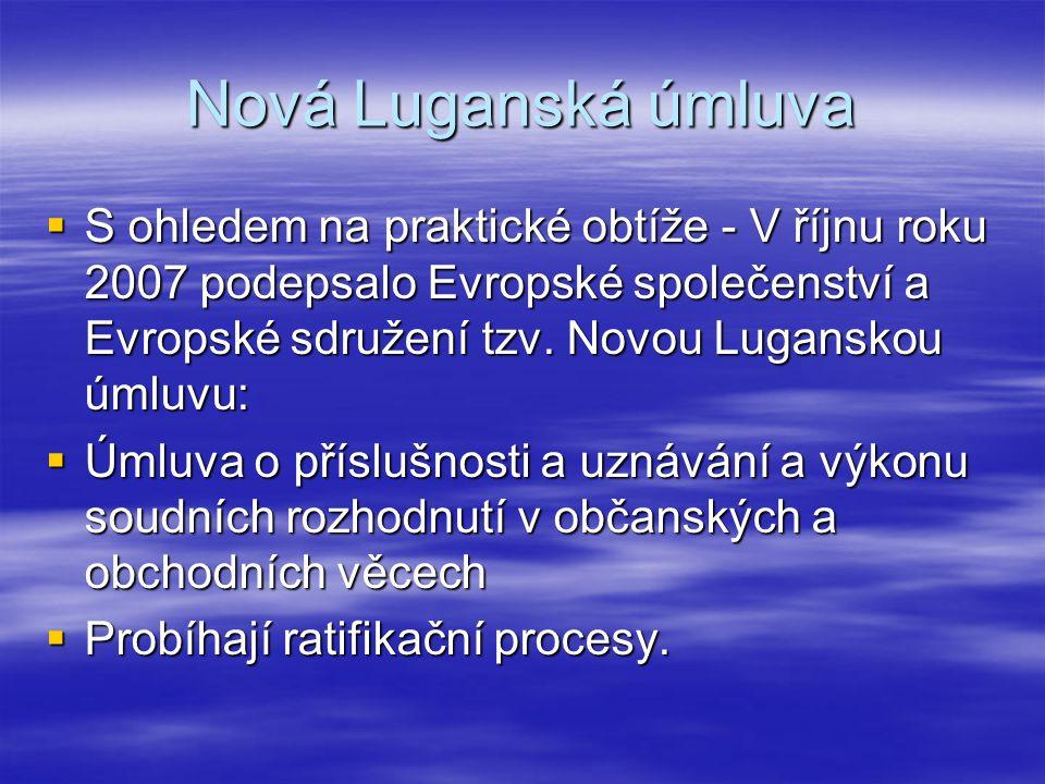 Nová Luganská úmluva  S ohledem na praktické obtíže - V říjnu roku 2007 podepsalo Evropské společenství a Evropské sdružení tzv. Novou Luganskou úmlu