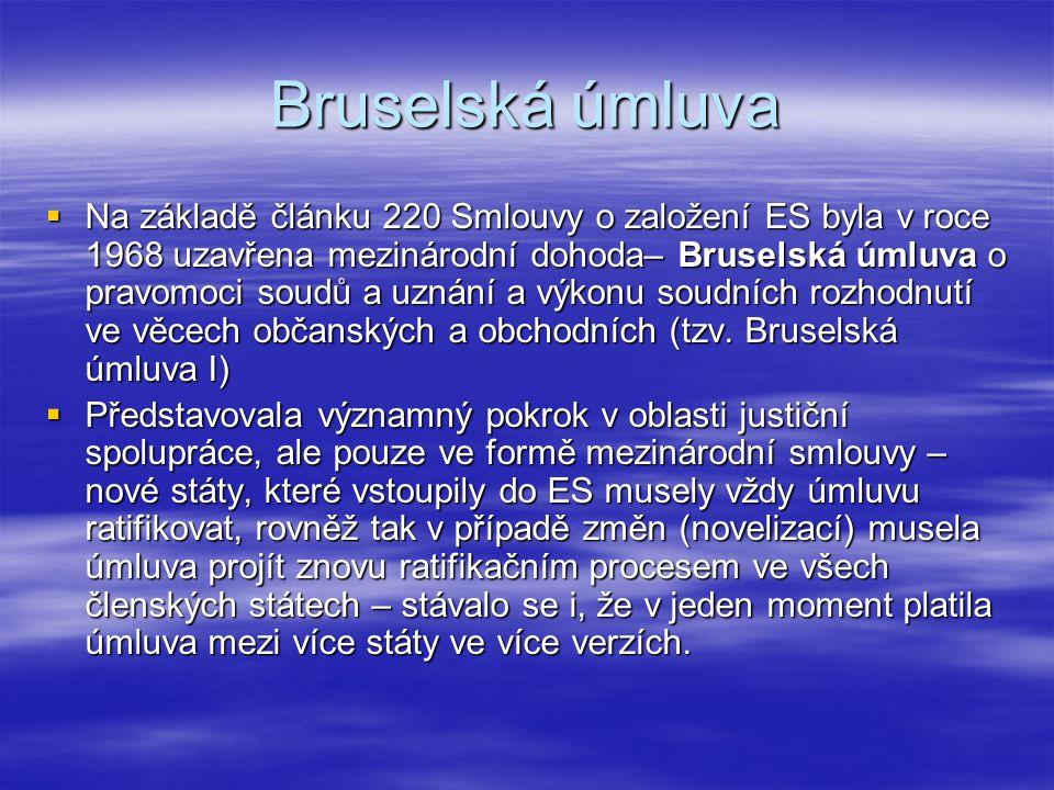 Luganská úmluva  Bruselská úmluva nebyla otevřena k podpisu jiným než členským státům  Řada nečlenských států projevila zájem na spolupráci ---> v roce 1988 členské státy ES uzavřely s Norskem, Islandem a Švýcarskem (European Free Trade Association) Luganskou úmluvu o pravomoci soudů a uznání a výkonu rozhodnutí ve věcech občanských a obchodních.