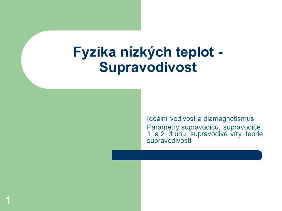 12 Supravodiče I.a II. druhu Supravodiče I. druhu chovají se jak bylo popsáno výše, tzn.