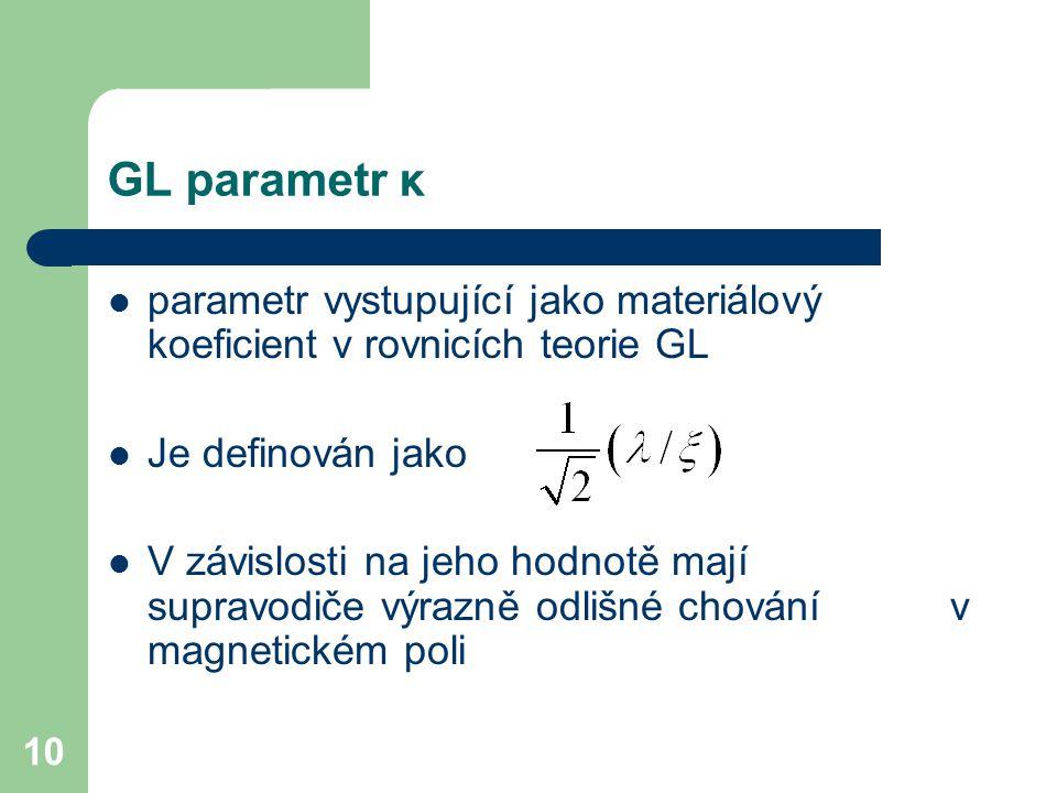 10 GL parametr κ parametr vystupující jako materiálový koeficient v rovnicích teorie GL Je definován jako V závislosti na jeho hodnotě mají supravodič
