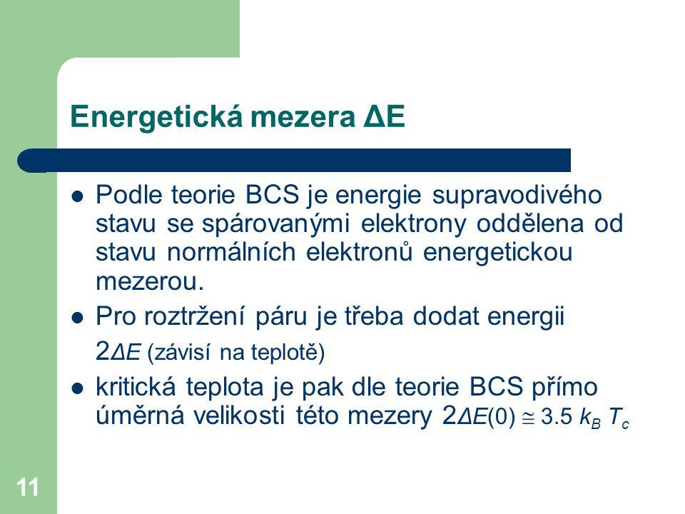 11 Energetická mezera ΔE Podle teorie BCS je energie supravodivého stavu se spárovanými elektrony oddělena od stavu normálních elektronů energetickou