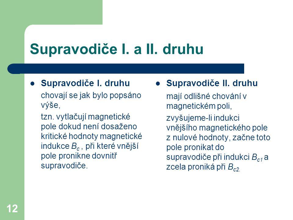 12 Supravodiče I. a II. druhu Supravodiče I. druhu chovají se jak bylo popsáno výše, tzn. vytlačují magnetické pole dokud není dosaženo kritické hodno