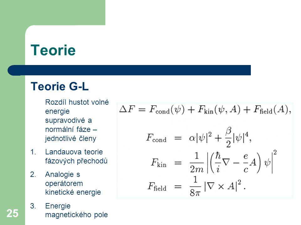 25 Teorie Teorie G-L Rozdíl hustot volné energie supravodivé a normální fáze – jednotlivé členy 1.Landauova teorie fázových přechodů 2.Analogie s oper