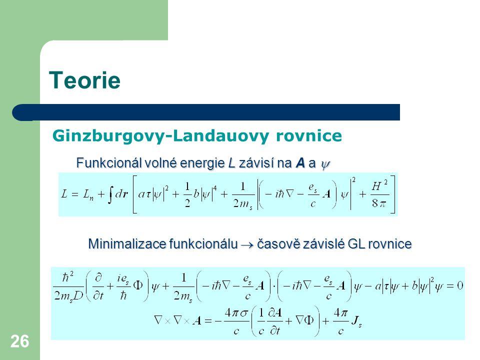 26 Teorie Ginzburgovy-Landauovy rovnice Funkcionál volné energie L závisí na A a  Minimalizace funkcionálu  časově závislé GL rovnice