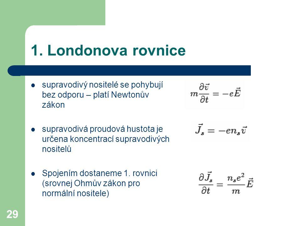 29 1. Londonova rovnice supravodivý nositelé se pohybují bez odporu – platí Newtonův zákon supravodivá proudová hustota je určena koncentrací supravod
