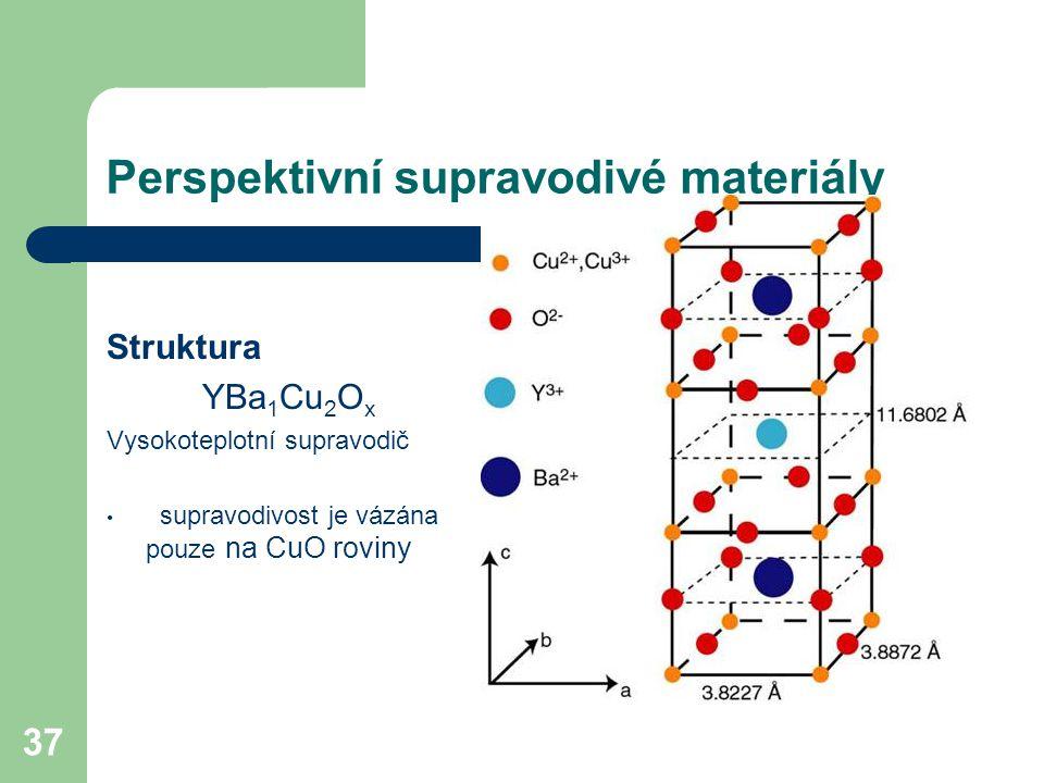 37 Perspektivní supravodivé materiály Struktura YBa 1 Cu 2 O x Vysokoteplotní supravodič supravodivost je vázána pouze na CuO roviny