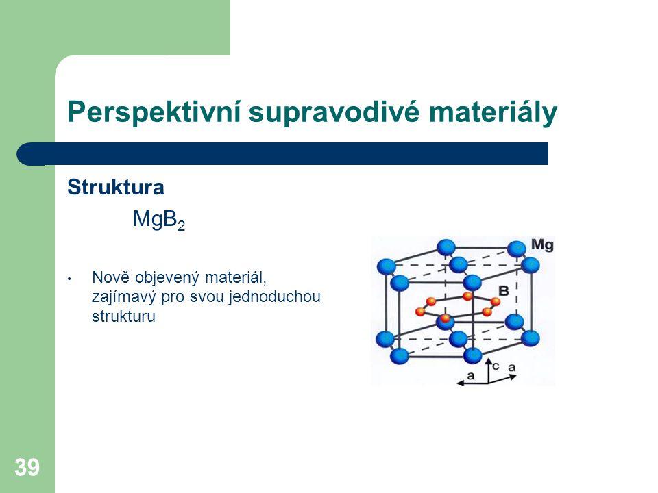 39 Perspektivní supravodivé materiály Struktura MgB 2 Nově objevený materiál, zajímavý pro svou jednoduchou strukturu