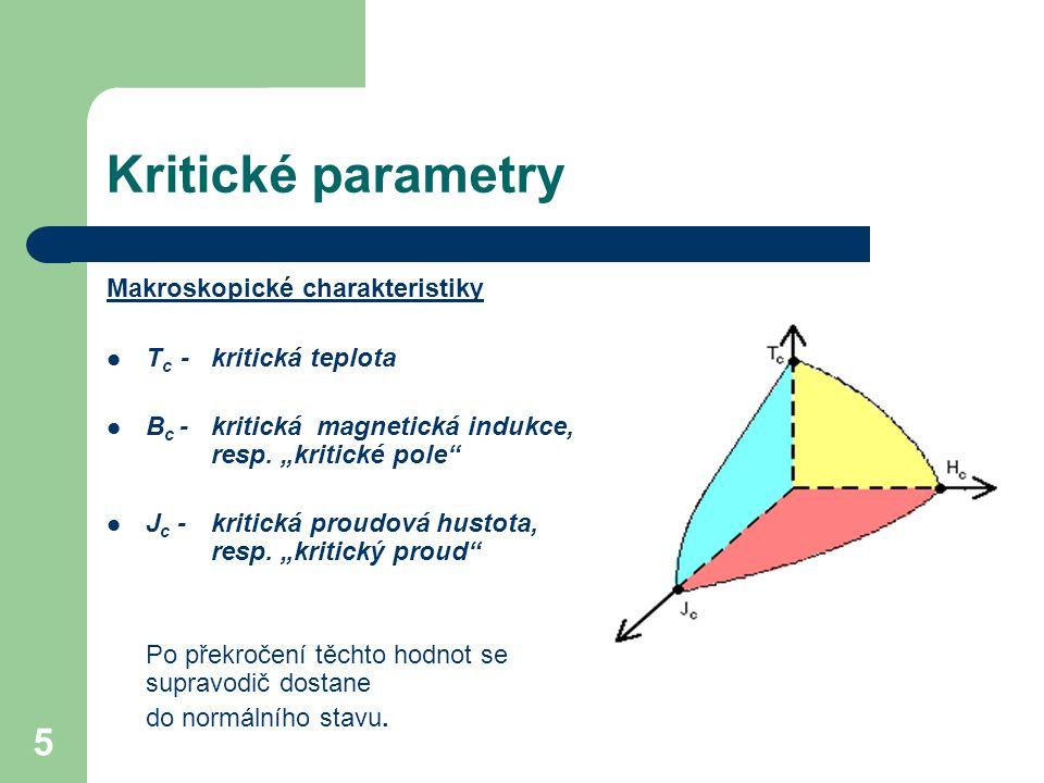 """5 Kritické parametry Makroskopické charakteristiky T c - kritická teplota B c - kritická magnetická indukce, resp. """"kritické pole"""" J c - kritická prou"""