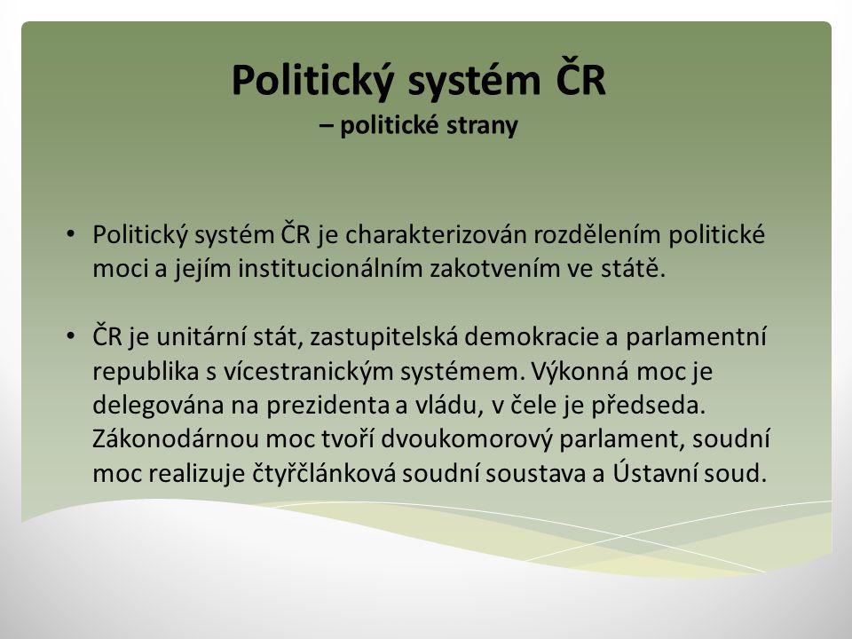 Politický systém ČR – politické strany Politický systém ČR je charakterizován rozdělením politické moci a jejím institucionálním zakotvením ve státě.