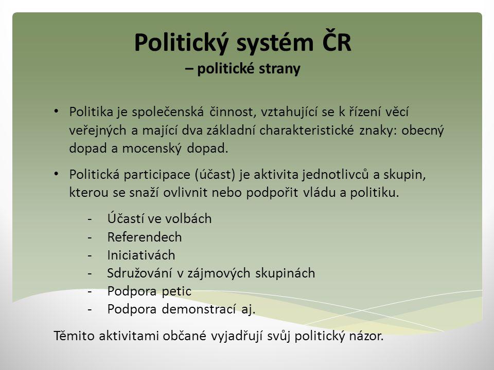 Politický systém ČR – politické strany Politika je společenská činnost, vztahující se k řízení věcí veřejných a mající dva základní charakteristické znaky: obecný dopad a mocenský dopad.