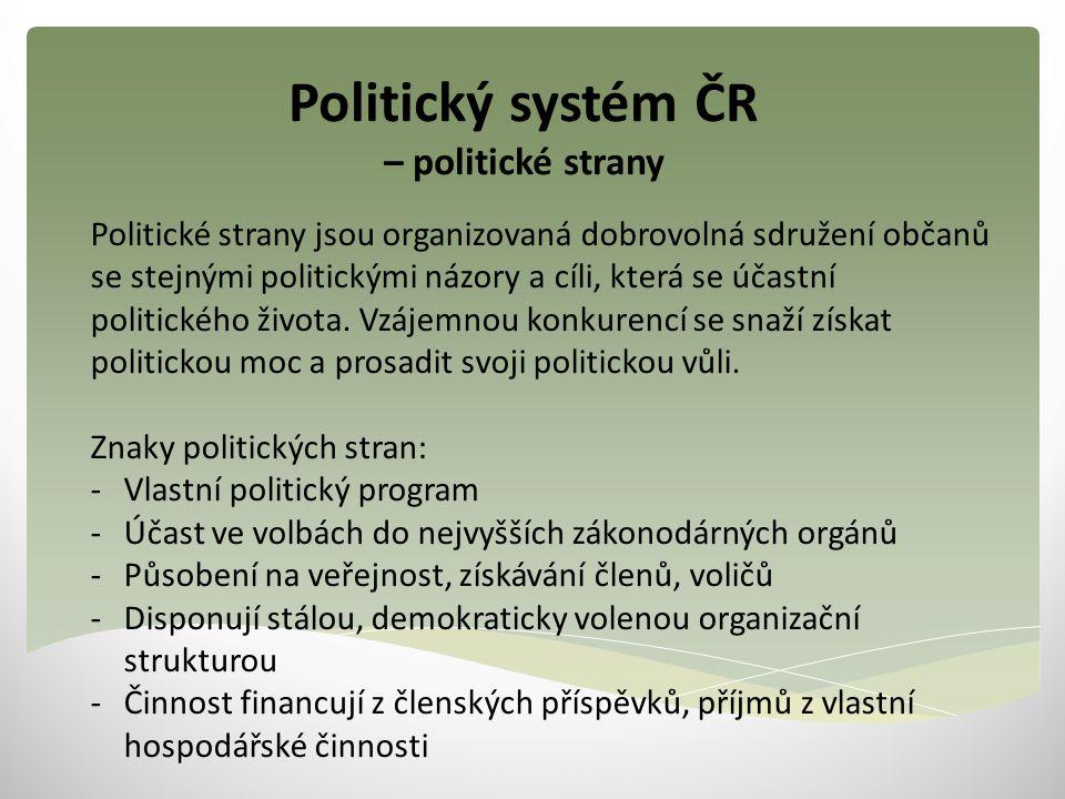 Politický systém ČR – politické strany Politické strany jsou organizovaná dobrovolná sdružení občanů se stejnými politickými názory a cíli, která se ú