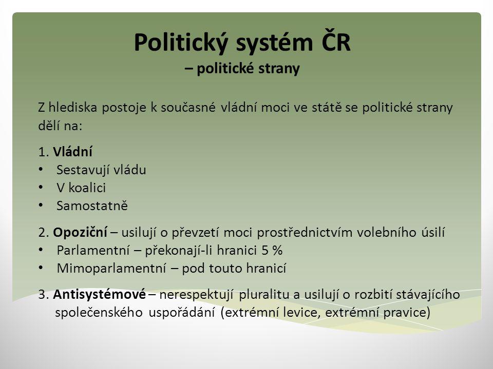 Politický systém ČR – politické strany Z hlediska postoje k současné vládní moci ve státě se politické strany dělí na: 1. Vládní Sestavují vládu V koa