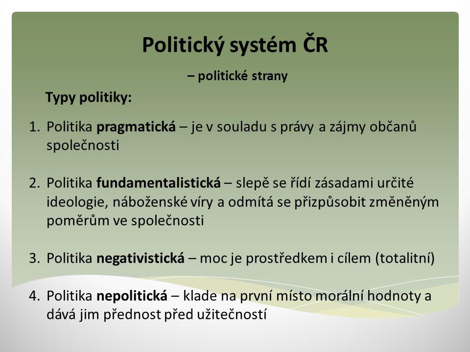 Politický systém ČR – politické strany 1.Politika pragmatická – je v souladu s právy a zájmy občanů společnosti 2.Politika fundamentalistická – slepě
