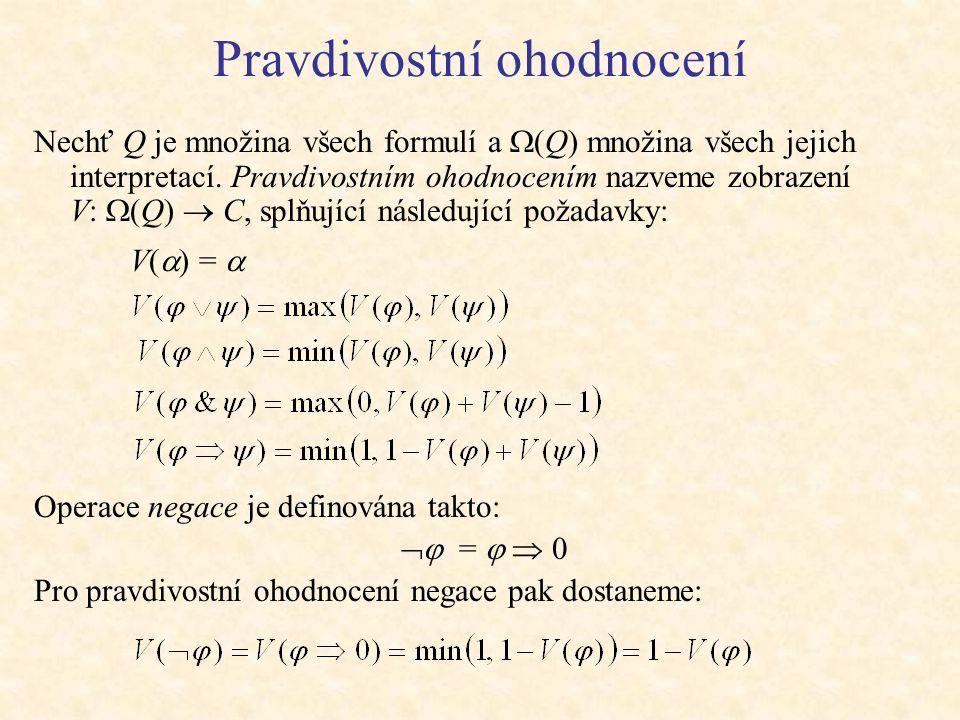 Pravdivostní ohodnocení Nechť Q je množina všech formulí a  (Q) množina všech jejich interpretací.